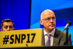 Pictured: John Swinney, MSP, Deputy First Minister<br /> The members of the SNP gathered in the Scottish Events Centre in Glasgow for their annual conference.<br /> <br /> Ger Harley   EEm 8 October 2017