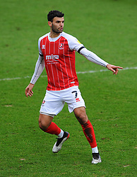 Conor Thomas of Cheltenham Town gestures - Mandatory by-line: Nizaam Jones/JMP - 20/02/2021 - FOOTBALL - Jonny-Rocks Stadium - Cheltenham, England - Cheltenham Town v Bradford City - Sky Bet League Two