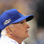 NEW YORK, NEW YORK - October 5: Manager Terry Collins #10 of the New York Mets in the dugout during the San Francisco Giants Vs New York Mets National League Wild Card game at Citi Field on October 5, 2016 in New York City. (Photo by Tim Clayton/Corbis via Getty Images)
