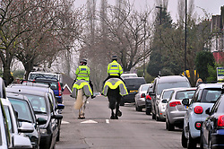© Licensed to London News Pictures.10/04/2018<br /> HITHER GREEN, UK.<br /> Mounted police in South Park Crescent.<br />  Hither Green Burglary Murder. South Park Crescent,Hither Green.<br /> Flowers and cards for Henry Vincent opposite the home of 78 year old Richard Osborn-Brooks who stabbed a burglar to death in his home.<br /> Photo credit: Grant Falvey/LNP