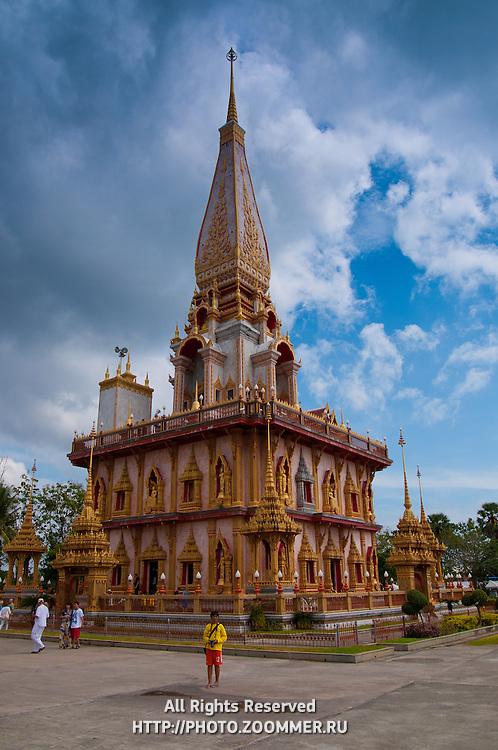 Pagoda of Wat Chalong buddist temple in Phuket, Thailand
