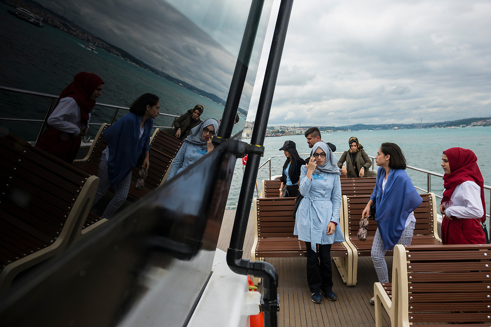 Istanbul, Turkey - June 9, 2017: Passengers begin to disembark a ferry after crossing the Bosphorus Strait in Istanbul, Turkey.