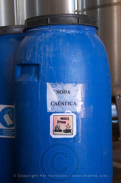 barrel with caustic soda herdade de sao miguel alentejo portugal
