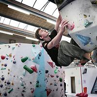 """Nederland, Amsterdam , 18 maart 2015.<br /> Mark Brand(16) is dit jaar opnieuw genomineerd voor de bergsport award """"meest getalenteerde jeugdklimmer van het jaar""""<br /> Foto:Jean-Pierre Jans"""