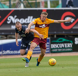 Dundee's Kenny Miller and Motherwell's Allan Campbell. Dundee 1 v 3 Motherwell, SPFL Ladbrokes Premiership game played 1/9/2018 at Dundee's Kilmac stadium Dens Park