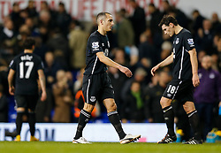 Leon Osman and Gareth Barry of Everton look dejected after Tottenham Hotspur win 2-1 - Photo mandatory by-line: Rogan Thomson/JMP - 07966 386802 - 30/11/2014 - SPORT - FOOTBALL - London, England - White Hart Lane - Tottenham Hotspur v Everton - Barclays Premier League.