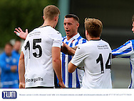 Lee Vaughan as tempers fray during the Pre-Season Friendly match between Weston Super Mare and Cheltenham Town at the Woodspring Stadium, Weston Super Mare, United Kingdom on 18 July 2015. Photo by Carl Hewlett
