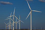 Wind turbines generating electrical power at Horse Hollow Wind Farm, Nolan county, Texas the world's largest wind power project.