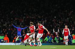 Granit Xhaka of Arsenal picks Pierre-Emerick Aubameyang off the floor - Mandatory by-line: Arron Gent/JMP - 27/02/2020 - FOOTBALL - Emirates Stadium - London, England - Arsenal v Olympiacos - UEFA Europa League Round of 32 second leg