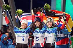 Olympic Winter Games Vancouver 2010 - Olympische Winter Spiele Vancouver 2010, Skeleton (Women), Kerstin SZYMKOWIAK (GER), Amy WILLIAMS (USA), Anja HUBER (GER) **Photo by Malte Christians / HOCH ZWEI / SPORTIDA.com.