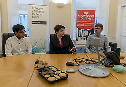 Scottish Conservatives leader, Ruth Davidson, visits the digital business, Company Net, in Edinburgh to mark national apprenticeship week.<br /> <br /> Pictured: L to R, Zain Hassan, Ruth Davidson, Sean Robertson