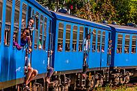 Train trip through the scenic mountains featuring many tea plantations between Nuwara Eliya (Nanu Oya) to Ella, Sri Lanka.