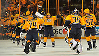 NASHVILLE, TN - APRIL 17:  Viktor Arvidsson #38 of the Nashville Predators celebrates with teammates after a 3-2 overtime victory over the Chicago Blackhawks in Game Three of the Western Conference First Round during the 2017 NHL Stanley Cup Playoffs at Bridgestone Arena on April 17, 2017 in Nashville, Tennessee.  (Photo by Frederick Breedon/Getty Images)