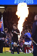 Richie McCaw, the New Zealand captain leads out his team before k/o. Rugby World Cup 2015 quarter-final match, New Zealand v France at the Millennium Stadium in Cardiff, South Wales  on Saturday 17th October 2015.<br /> pic by  Andrew Orchard, Andrew Orchard sports photography.