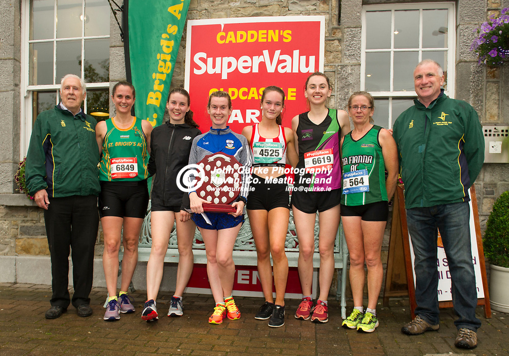 10-07-19. St. Brigid's AC - Oldcastle 5k Road Race.<br /> St. Brigid's A.C. Founder Committee members Joe Moynagh (Left) and Frank Smith presenting ladies awards to from left, Eimear McGovern (3rd.), St. Brigid's AC. Shauna Moran (2nd), Dunshaughlin A.C. Claire Ni Fhaircheallaigh (1st.), Dunboyne A.C. Sarah Caulfield (6th.) Trim A.C. Karen Blaney (4th.), Navan A.C and Mary Hanley (5th.), Na Fianna A.C.<br /> Photo: John Quirke / www.quirke.ie<br /> ©John Quirke Photography, Unit 17, Blackcastle Shopping Cte. Navan. Co. Meath. 046-9079044 / 087-2579454.
