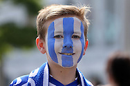 a young Sheffield Wednesday fan wearing face paint outside Wembley Stadium before k/o. Skybet football league Championship play off final match, Hull city v Sheffield Wednesday at Wembley Stadium in London on Saturday 28th May 2016.<br /> pic by John Patrick Fletcher, Andrew Orchard sports photography.