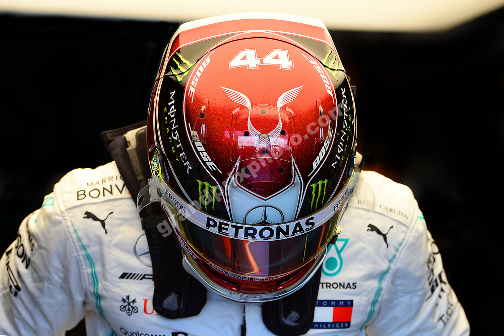 Lewis Hamilton (Mercedes) with his helemt on during practice for the 2019 Canadian Grand Prix in Montreal. Photo: Grand Prix Photo