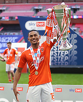 Blackpool's Demi Mitchell with the trophy<br /> <br /> Photographer Rob Newell/CameraSport<br /> <br /> The EFL Sky Bet League One Play-Off Final - Blackpool v Lincoln City - Sunday 30th May 2021 - Wembley Stadium - London<br /> <br /> World Copyright © 2021 CameraSport. All rights reserved. 43 Linden Ave. Countesthorpe. Leicester. England. LE8 5PG - Tel: +44 (0) 116 277 4147 - admin@camerasport.com - www.camerasport.com
