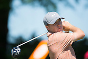 Jordan Spieth tees off during the final round of the AT&T Byron Nelson in Las Colinas, Texas on May 31, 2015. (Cooper Neill for The New York Times)