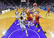 Caleb Grill #2 of the Iowa State Cyclones drives in for a lay up against David Sloan #4 of the Kansas State Wildcats during the second half at Bramlage Coliseum on March 7, 2020 in Manhattan, Kansas.