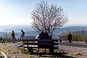 """Visitors are practising """"social distance"""" at the Großer Feldberg (""""Great Field Mountain"""") which is at a height of 879.5 metres, the highest elevation of the Taunus mountains, and of the entire Rhenish Massif. It is situated in the Hochtaunuskreis district in Hessen, Germany."""