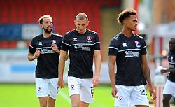 Cheltenham Town players warm up prior to kick off - Mandatory by-line: Nizaam Jones/JMP - 12/09/2020 - FOOTBALL - Jonny-Rocks Stadium - Cheltenham, England - Cheltenham Town v Morecambe - Sky Bet League Two