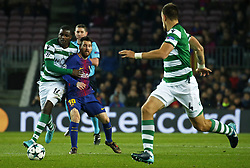 December 5, 2017 - Barcelona, Catalonia, Spain - William Carvalho and Leo Messi during the UEFA Champions League match between FC Barcelona v Sporting CP, in Barcelona, on December 05, 2017. (Credit Image: © Joan Valls/NurPhoto via ZUMA Press)