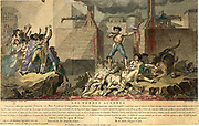 French Revolution, Reign of Terror: Joseph Le Bon, standing on a pile of decapitated bodies between two guillotines, drinking blood from one chalice as he fills another with the blood spewing from freshly beheaded victim.  1795.