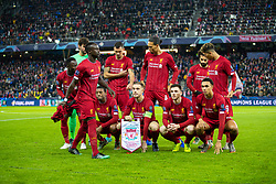 SALZBURG, AUSTRIA - Tuesday, December 10, 2019: Liverpool players begin to line-up for a team group photograph before the final UEFA Champions League Group E match between FC Salzburg and Liverpool FC at the Red Bull Arena. (Pic by David Rawcliffe/Propaganda)