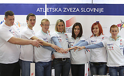 Miro Vodovnik, Cene Subic, Matic Osovnikar, Snezana Rodic, Marija Sestak, Nina Kolaric and Sonja Roman at press conference before departure of  Slovenian athletics team to European Athletics Indoor Championships Torino 2009, in Ljubljana, Slovenia, on March 4, 2009. (Photo by Vid Ponikvar / Sportida)