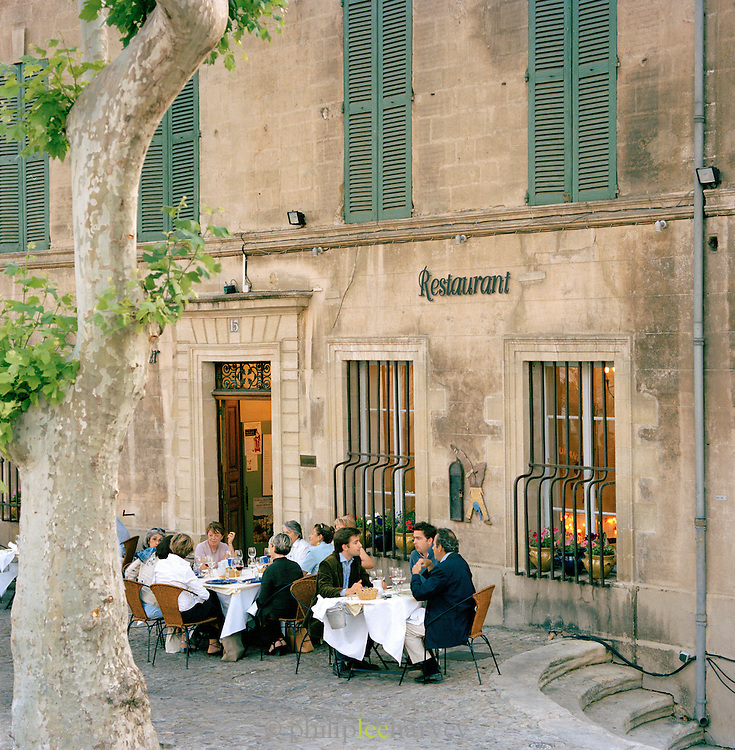Restaurant and terrace, Avignon, Provence-Alpes-Cote-D'Azur region of France