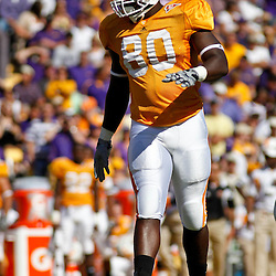 Oct 2, 2010; Baton Rouge, LA, USA; Tennessee Volunteers defensive end Corey Miller (80) on the field during the first half against the LSU Tigers at Tiger Stadium.  Mandatory Credit: Derick E. Hingle