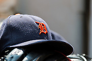 A close up view of a hat in the dugout of the Detroit Tigers during a game against the Minnesota Twins on August 15, 2012 at Target Field in Minneapolis, Minnesota.  The Tigers defeated the Twins 5 to 1.  Photo: Ben Krause