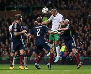 Jon Walters of Ireland heads the ball back across goal  - UEFA Euro 2016 Qualifier - Scotland vs Republic of Ireland - Celtic Park Stadium - Glasgow - Scotland - 14th November 2014  - Picture Simon Bellis/Sportimage