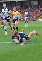 Bristol Hooker Max Crumpton scores a try  - Photo mandatory by-line: Joe Meredith/JMP - Mobile: 07966 386802 - 21/09/2014 - SPORT - FOOTBALL - Bristol - Ashton Gate - Bristol Rugby v Cornish Pirates - Greene King IPA Championship