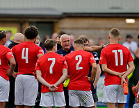 Football - 2021 / 2022 Emirates FA Cup - First Round Qualifying - Bootle vs. FC United of Manchester - Berry Street Garage Stadium - Saturday 4th September 2021<br /> <br /> FC United of Manchester coach  Brian Richardson keeps his players on the pitch after the game after his side had let slip a 2-0 first half lead, at the Berry Street Garage Stadium.<br /> <br /> COLORSPORT/Alan Martin