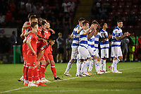 Football - 2021 / 2022 EFL Carabao Cup - Round One - Leyton Orient vs Queens Park Rangers - The Breyer Group Stadium<br /> <br /> Queens Park Rangers celebrate as Albert Adomah scores the winning penalty in the shoot out.<br /> <br /> COLORSPORT/Ashley Western