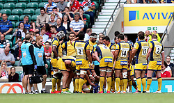 Worcester Warriors players group together after conceding a try - Mandatory by-line: Robbie Stephenson/JMP - 03/09/2016 - RUGBY - Twickenham - London, England - Saracens v Worcester Warriors - Aviva Premiership London Double Header