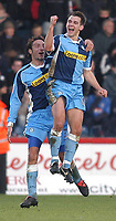 Photo: Alan Crowhurst.<br />Wycombe Wanderers v Grimsby Town. Coca Cola League 2.<br />19/11/2005. <br />Matt Bloomfield of Wycombe (R) celebrates his goal.