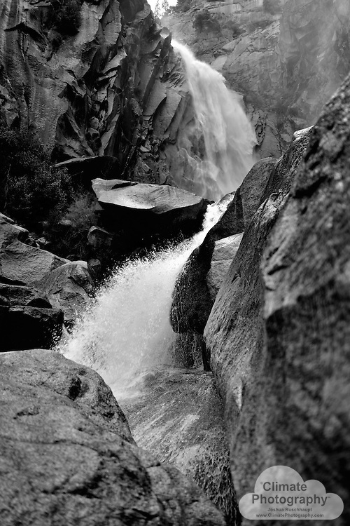Just a jaunt up the hill from Highway 140 is this view at the base of Cascade Falls, on the north side of the Merced River.