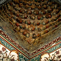 Asia, India, Agra. Intrior corner of the Baby Taj, or Jewel Box.