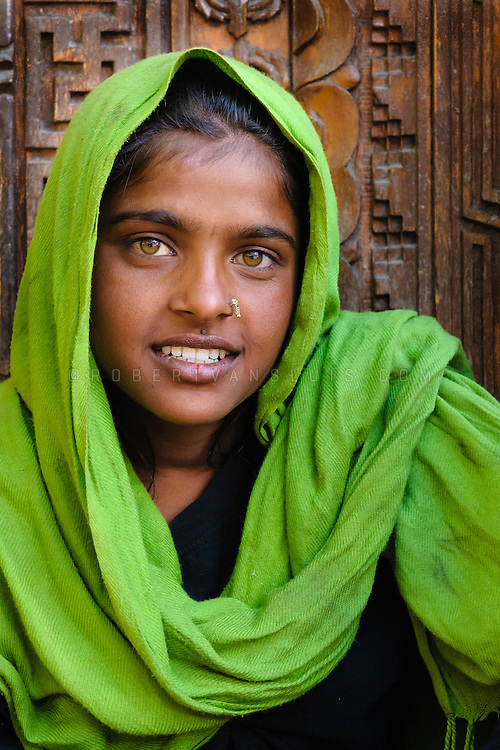 Rajasthani beggar girl in Leh, Ladakh, India