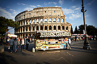 A Gelato stand outside of the Colosseum in Rome, Italy
