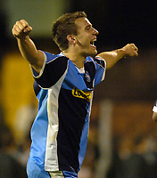 Photo: Daniel Hambury.<br />Fulham v Wycombe Wanderers. Carling Cup. 20/09/2006.<br />Wycombe's Matt Bloomfield celebrates as his side reach the third round of the league cup for the first time.