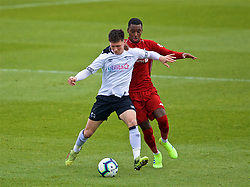DERBY, ENGLAND - Friday, March 8, 2019: Derby County's Alex Babos (L) and Liverpool's Rafael Camacho during the FA Premier League 2 Division 1 match between Derby County FC Under-23's and Liverpool FC Under-23's at the Derby County FC Training Centre. (Pic by David Rawcliffe/Propaganda)