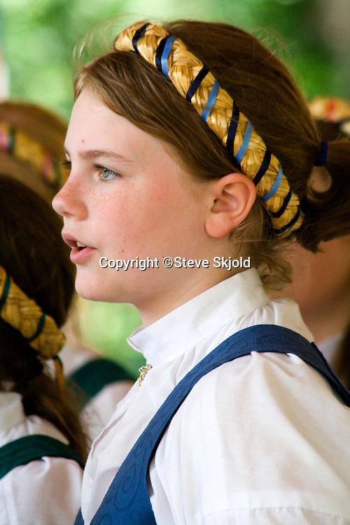 Svenskarnas Dag Girls Choir. Svenskarnas Dag Swedish Heritage Day Minnehaha Park Minneapolis Minnesota USA