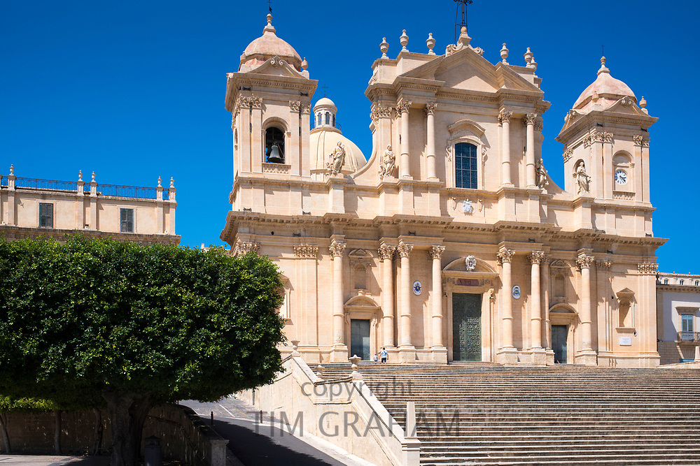 Front elevation and steps of Baroque Cathedral of Saint Nicholas - Basilica di San Nicolo in Noto city, Sicily, Italy