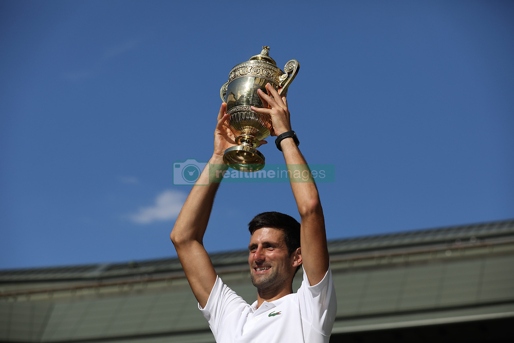 JULY 15, 2018 - London, England, United Kingdom - Novak Djokovic of Serbia celebrates beating Kevin Anderson of South Africa to win the Men's Singles Final on day thirteeen of the Wimbledon Lawn Tennis Championships at All England Lawn Tennis and Croquet Club on July 15, 2018 in London, England. (Credit Image: © SMG via ZUMA Wire)