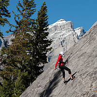 Rock Climbing on Rundle Rock near the town of Banff in Banff National Park, Alberta, Canada.