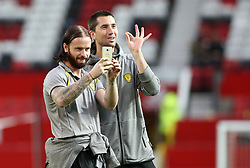 Burton Albion's John Brayford and Shaun Barker during the Carabao Cup, Third Round match at Old Trafford, Manchester.